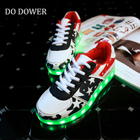 Luminous Sneakers For Girls Boys Chaussure Light Up Infant USB Charging Luminous Led Shoes With Light
