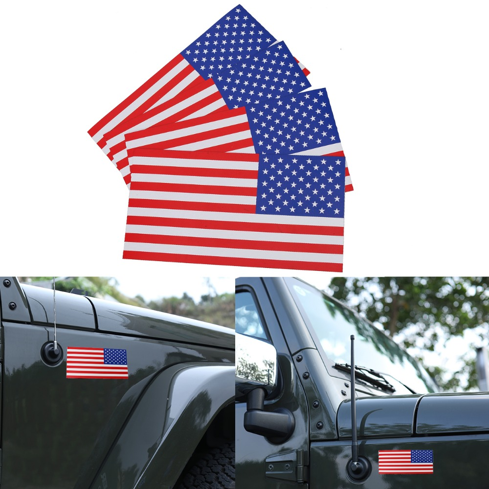 4PC 0.6mm Thick 7.5x4 Removable Magnetic Signs USA American Flag Auto Body Decal Outdoor Car Stickers on Right #SGB-10-4-HR