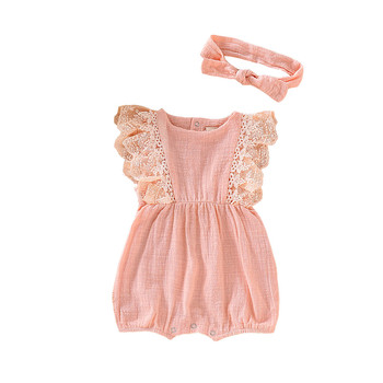 MUQGEW Children Clothes Infant Girls Summer Outfits Kids Baby Girl Lace Ruffled Romper Bodysuit Hair Band Outfit Summer ropa