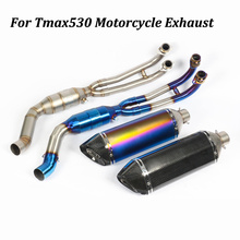 Slip on For Yamaha Tmax530 Motorcycle Exhaust Muffler Modified with Front Middle Link Pipe Carbon Fiber+stainless Steel Escape
