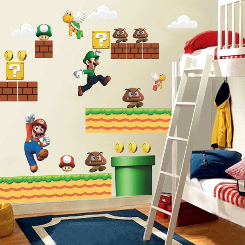 Super mario wall stickers for kids room home decor zooyoo1443 cartoon boys girls wall decal mural art playroom adesivo de parede in wall stickers from home