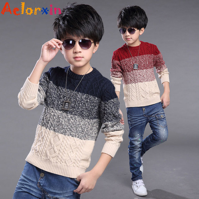 Kids Knitted Sweaters for Boys Clothes Cotton School Boys Sweaters Autumn Children Clothing Winter Teenage Boys Tops 6 8 10 14 Y