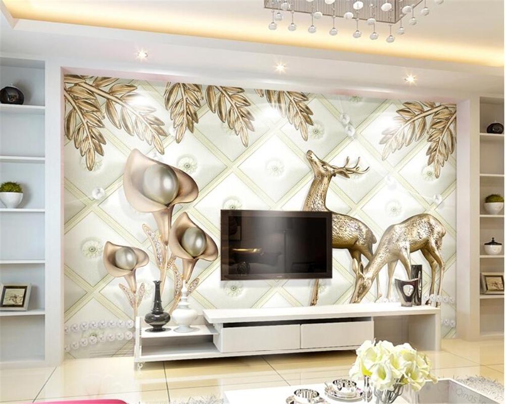 Beibehang Custom Wallpaper Living Room Bedroom Mural Jewelery Gold ...