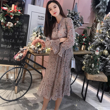 Vintage Bow Stand Collar Floral Printed Women Dress