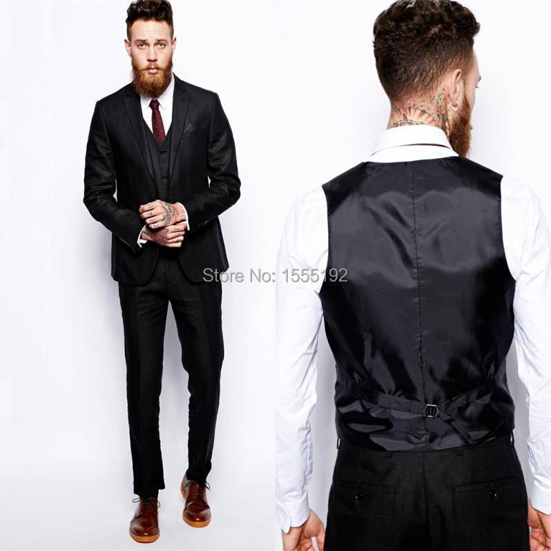 Black Custom Made Groom Tuxedos Business Suits Classic Natch Lapel ...