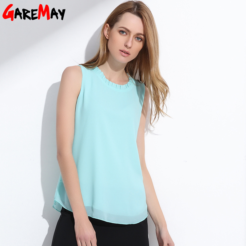 GAREMAY Summer Chiffon Tops White Blouses For Women Shirts