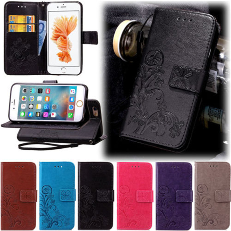 Four Leaf Pattern Flip Wallet Kickstand PU Leather Card Pocket Phone Full Protective Cover For iPhone 5 5S SE 6 6S Plus 7 Plus