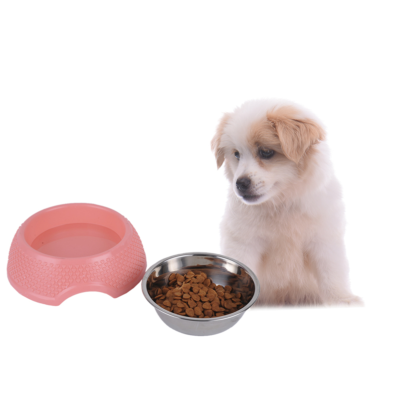 Stainless Steel Plastic Dog Feeding Bowl Cat Puppy Food Dish Pet Drink Water Bowl Non Slip 2 Color 1Pcs