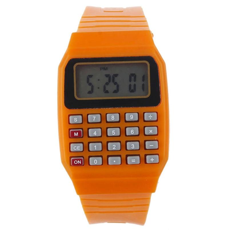 New Fashion Design Unisex Sport Watch Silicone Multi-Purpose Date Time Electronic Wrist Calculator Boys Girls Children Watch