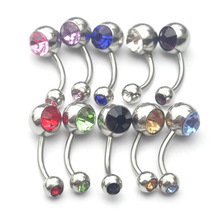 Men/Women 316L Surgical Crystal Stainless Steel Belly Button Rings Unisex Rhinestone Naval Piercing Jewelry