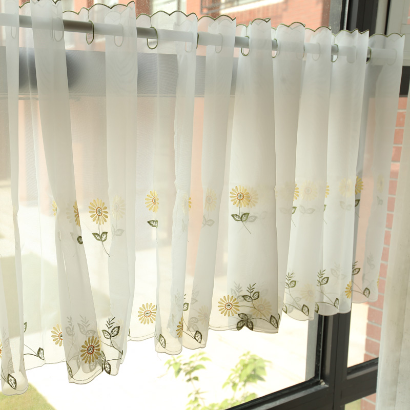 (Single Panel) New Fresh Embroidered Yellow Daisy Coffee Voile Curtain Home  Kitchen Bedroom Sheer