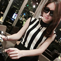 2016 summer high quality women sexy short tops high neck sleeveless cotton knitted striped tank top female top black white vest