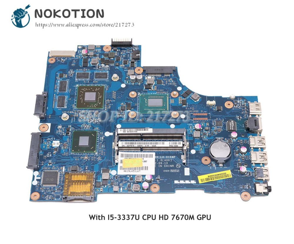 NOKOTION Laptop Motherboard For Dell Inspiron 15R-5521 3521 Main Board CN-0TPX0T 0TPX0T VAW00 LA-9104P I5-3337U CPU HD7670M cn 06d5dg 06d5dg 6d5dg laptop motherboard for dell inspiron n5520 15r 5520 qcl00 la 8241p ddr3 hd7670m 1gb video card mainboard