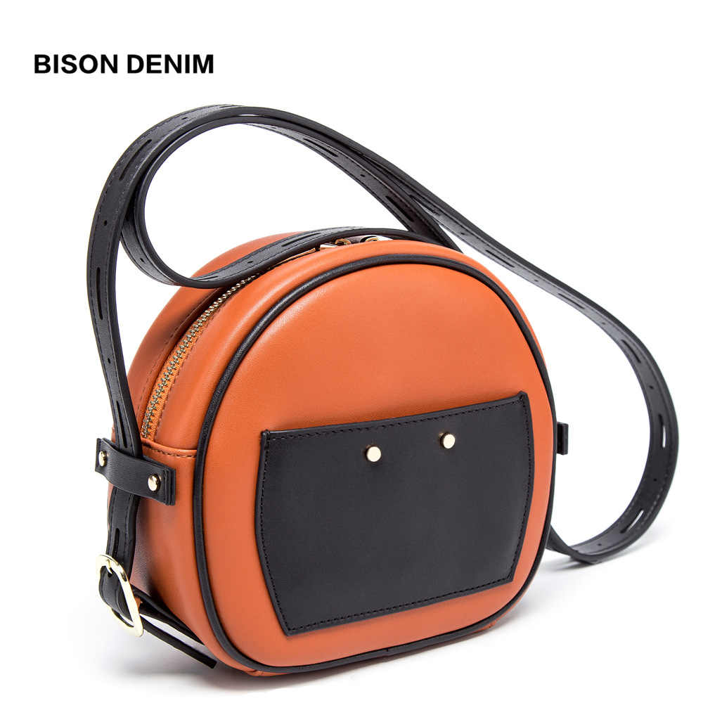 BISON DENIM Cow Leather Crossbody Bags For Women 2019 Round Bag Women Shoulder Bags Ladies Purse Round Bolsa Handbag N1608