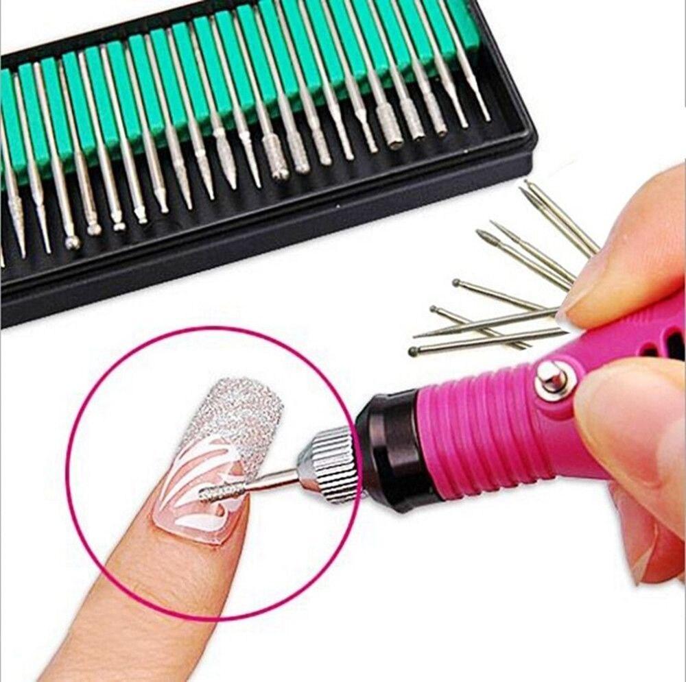 30pcs Silver Diamond Nail Polishing Needle Nail Art Tool Kits Drill Bits Rotary Grinding Head Carving For Nail Manicure Pedicure