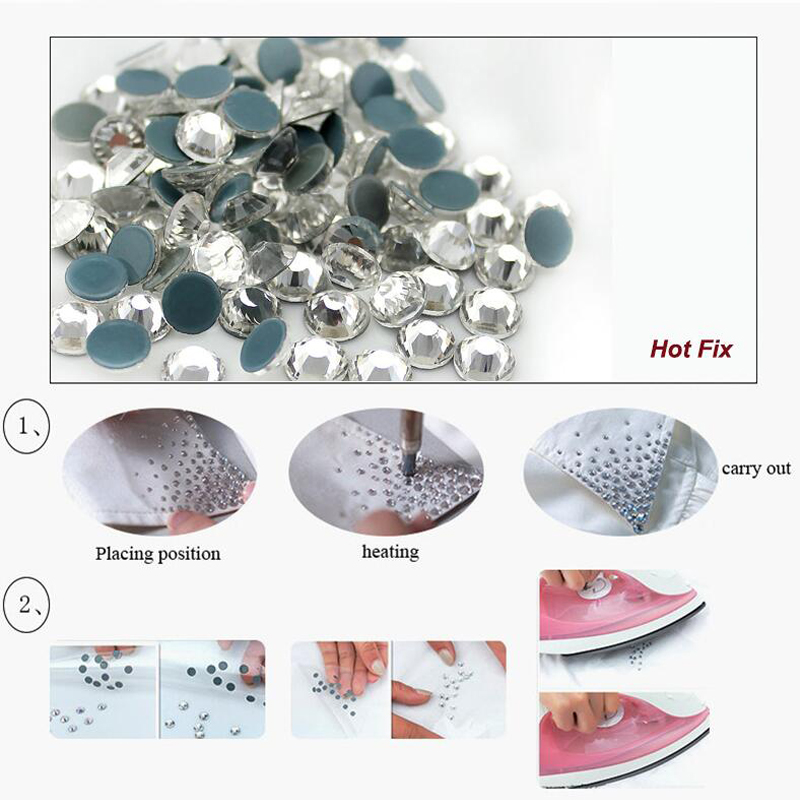 1440pcs Jet Black Rhinestones Shiny Crystals Strass Solid glue Back Glass Crystals Fabric Crafts hotfix Rhinestones For Clothes in Rhinestones from Home Garden
