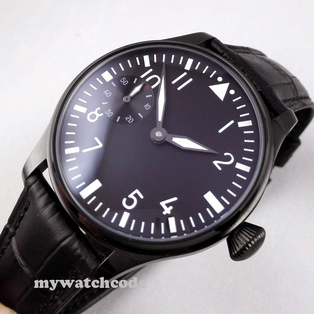 лучшая цена classic 44mm parnis black dial PVD 6497 movement hand winding mens watch P290