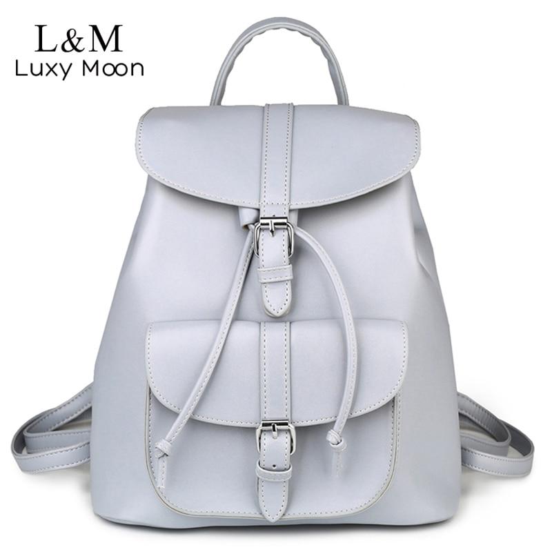 Female Drawstring Leather Backpacks Teenage Girls School Bags Women Trendy Vintage Backpack Black Rucksack Mochila XA950H