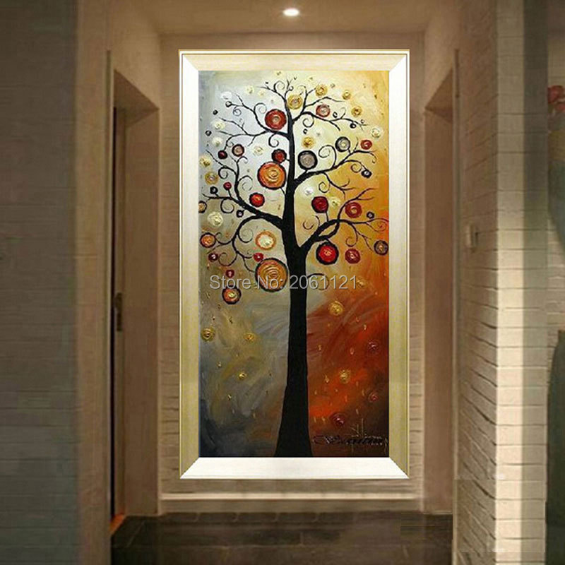 Tangan dicat lukisan minyak di atas kanvas pohon kehidupan abu-abu - Dekorasi rumah - Foto 1