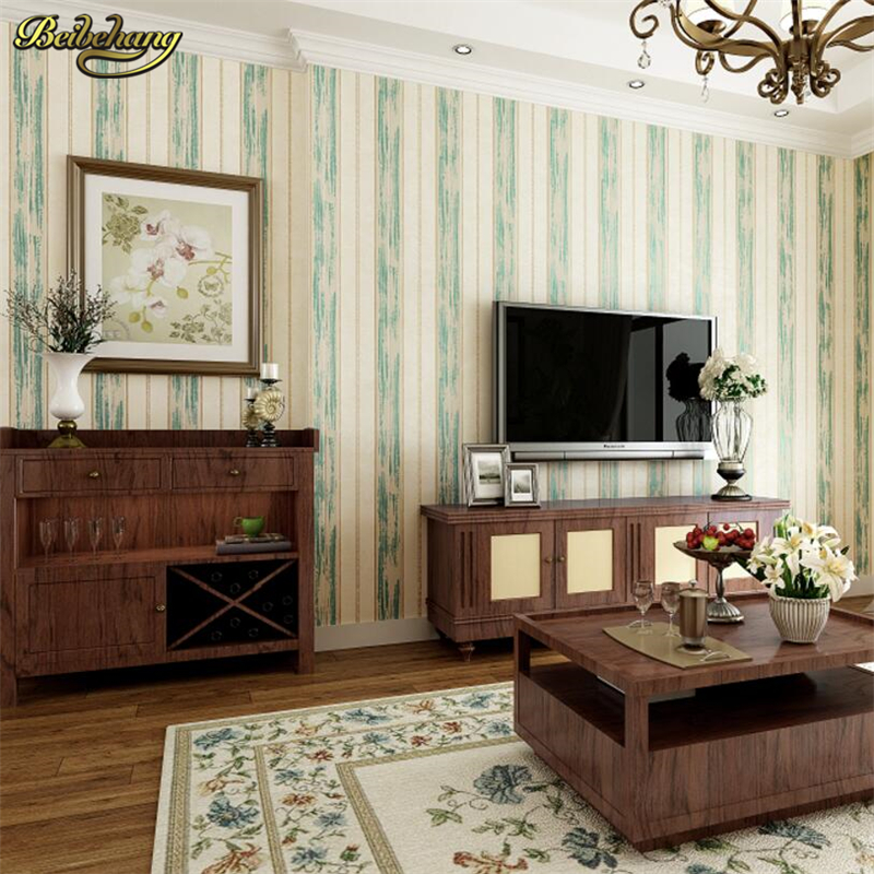 beibehang Nonwovens Wallpapers Living Room Bedroom Vertical Striped 3d TV Background Wallpaper Vintage American papel de parede beibehang thick living room bedroom wall cabinet wall cabinet sub cabinet furniture renovation stickers self adhesive wallpaper