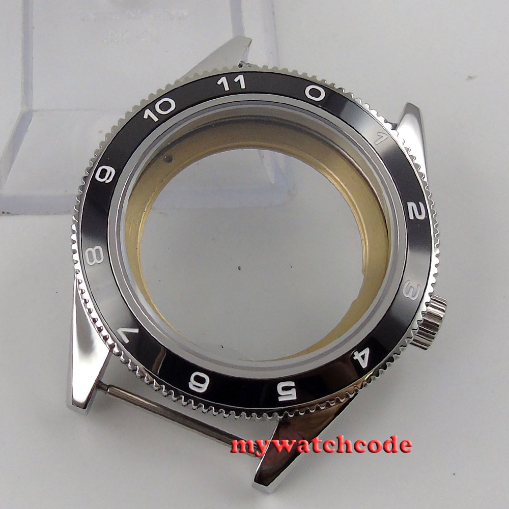 41mm black ceramic bezel sapphire cystal Watch Case fit ETA 2824 2836 MOVEMENT цена и фото