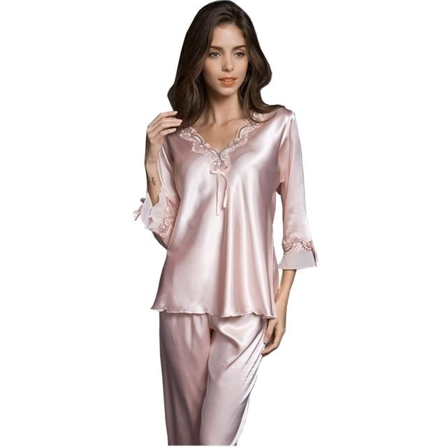 Pijamas de Alta Qualidade pijamas de seda real de alta qualidade mulheres figura lisonjeiro Magro cueca roupa de dormir Camisola twinset
