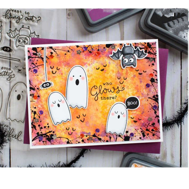 4x6in Halloween fantasma transparente claro sello de silicona DIY Scrapbooking/tarjeta para álbum de fotos hacer a mano decorativo sello transparente