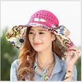 Mujeres holiday beach sun sombreros Gorras 2017 Impresiones de Verano Hueco fuera Plegable Floppy Sun Sombreros de Las Señoras lindo sombreros sombrero de paja niñas