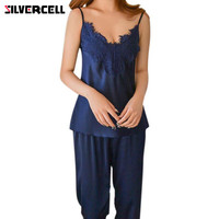 SILVERCELL2PCS Sleepwear Set Long Pants Tops Satin Silk Women S Pajamas Set Female Soft Home Wear