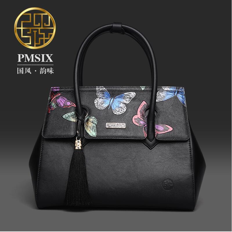 Sac en cuir véritable pour femmes Pmsix 2016 nouveau sac à bandoulière élégant imprimé papillon sac fourre-tout gland