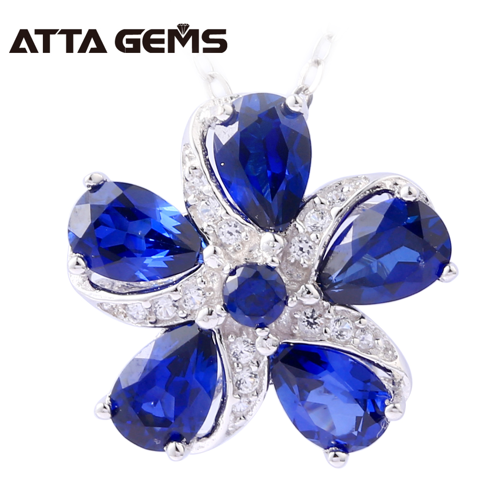 Sapphire Sterling Silver Pendants for Women Fine Jewelry 2.8 Carats Created Sapphire Faced Cutting Flower Design Party JewelrySapphire Sterling Silver Pendants for Women Fine Jewelry 2.8 Carats Created Sapphire Faced Cutting Flower Design Party Jewelry