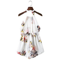 CQ948 Fashion Halter Backless Flower Print White Playsuits Women 2017 Ruffles Elegant Chiffon Summer Womens Jumpsuits