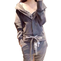 2018 Autumn And Winter New Casual Women's Long sleeved Hooded Sweater Three piece Suit