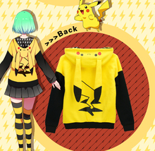 Pokemon Go Pikachu cosplay anime hooded Autumn and winter thick warm hoodie sweater coat lovely Japanese cartoon women