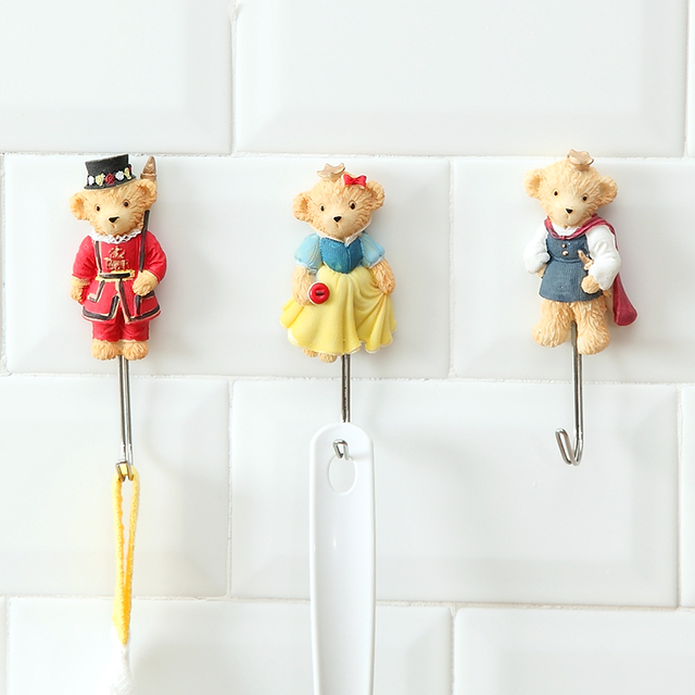 Kitchen Towel Hooks Decorative Window Valance Ideas New Teddy Bear Wall Key Hook Door For Clothes Hangers Organizador 6 Styles
