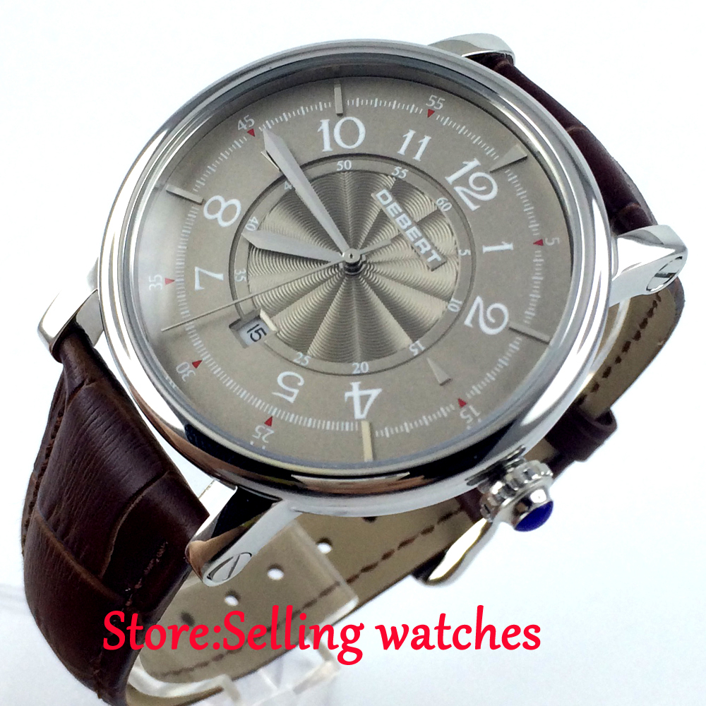 New arrive 43mm Debert Gray dial leather strap miyota Automatic movement mens Watch new arrive 180