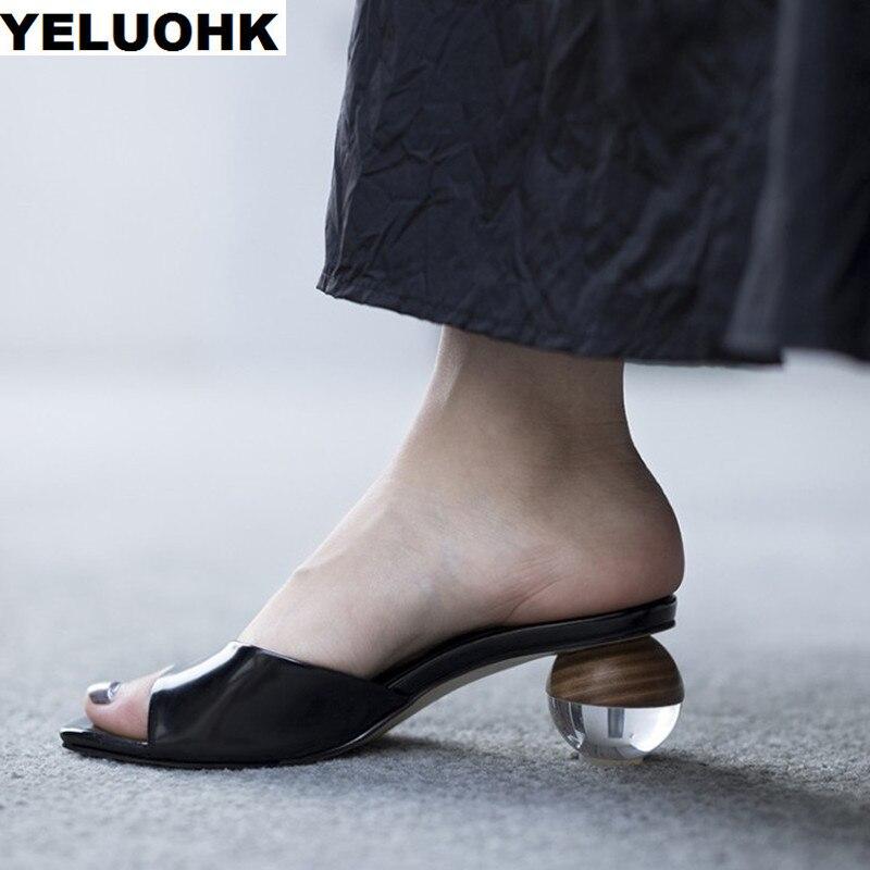 Ayakk.'ten Terlikler'de Marka Yeni Hakiki deri ayakkabı Kadın Sandalet Şeffaf yüksek topuklu sandalet Kadın Terlik Garip Topuk Bayanlar Ayakkabı Yaz'da  Grup 1