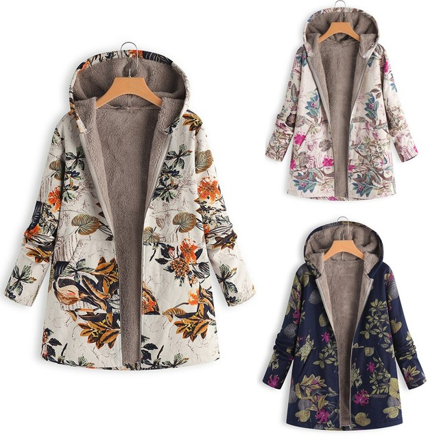 64c69d213d2 Womens Winter Warm Outwear Floral Print Hooded Pockets Vintage Oversize  Coats Long Sleeve winter Thicken Top ladies coat Jackets