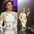 Evening/Celebrity Dress 2016 Middle East Whilst Jewel Gold Beads/Sequins Mermaid Vestido De Fiesta Long Sleeves Myriam Fares
