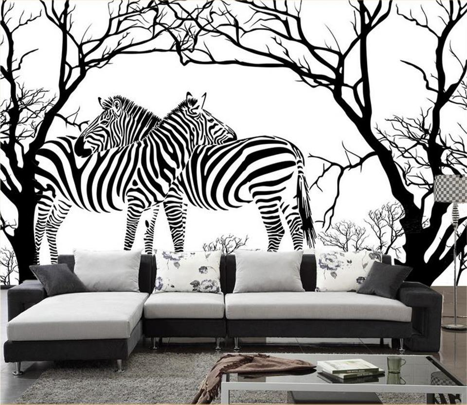 3d wallpaper custom photo non woven mural Relief abstract tree zebra