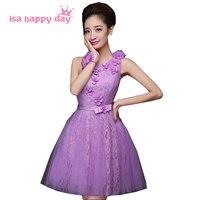 Nastolatek jedno ramię wielu styl jasny jasny fiolet liliowy druhna dress skromne sukienki dziewczyny na ślub okazje H2172