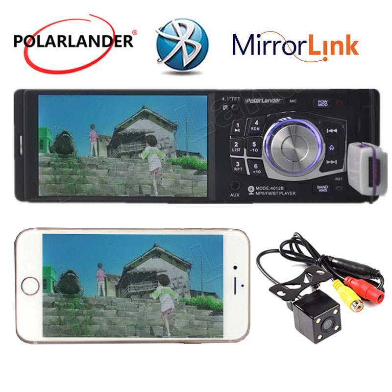 Autoradio Bluetooth 4.1 pouces FM USB TF AUX caméra de recul lecteur MP5 commande au volant Audio stéréo 1 Din