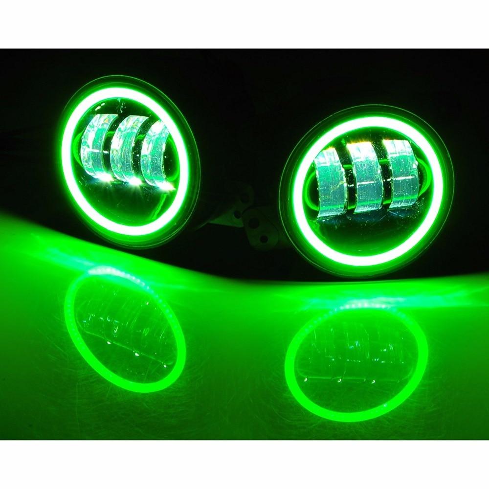Для Wrangler 4 дюйма 30W светодиодные противотуманные фары комплект с Белый DRL зеленый свет сигнала поворота для Крайслер Додж лампы ближнего света