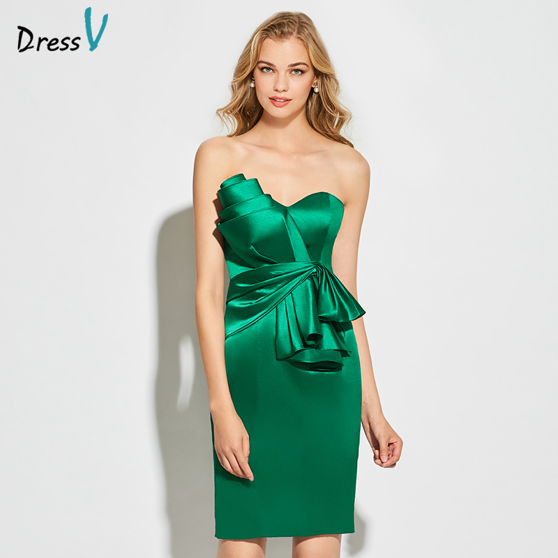 Dressv green strapless cocktail dress sheath above knee length sleeveless zipper up elegant cocktail dress formal party dress