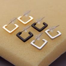 The new minimalist design exclusive texture geometric square female stud earrings AA008