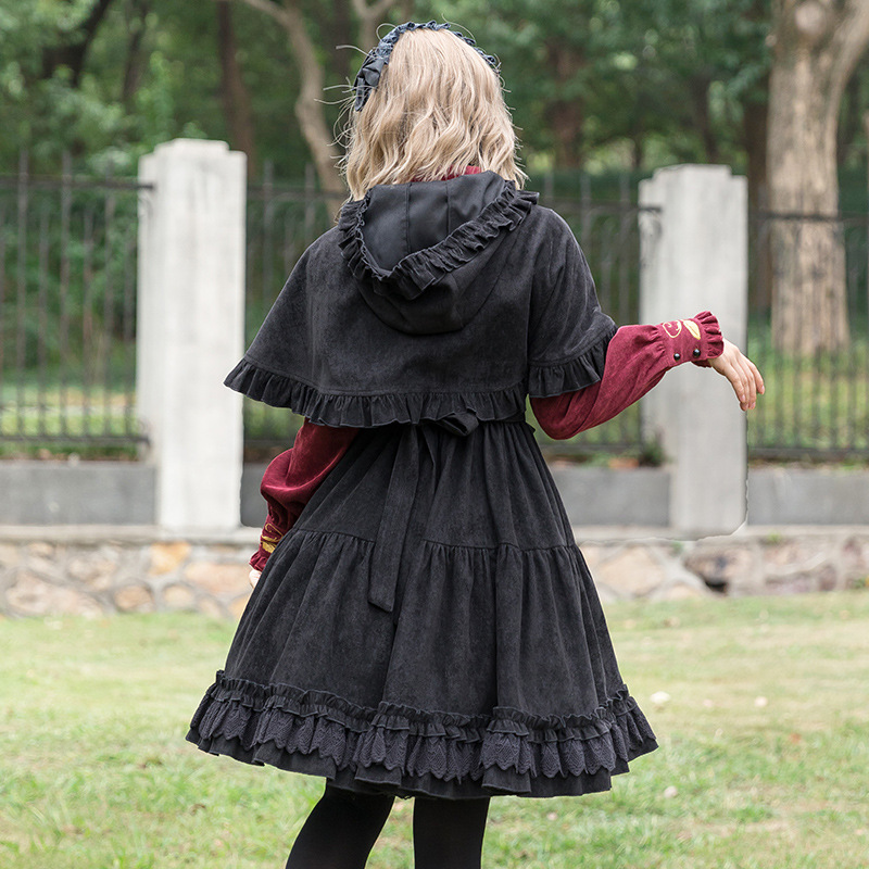 A Vita Alta red Vestito Apricot Coste Dolce Senza Abito Lolita black Spessore Velluto Di Maniche 2019 ExCUFwq8n