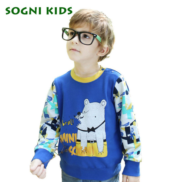 SOGNI KIDS Print Cartoon Tshirts 2016 Christmas Splice Colors Clothes For Children Long Sleeves Round Neck Fashion Boy T-shirts