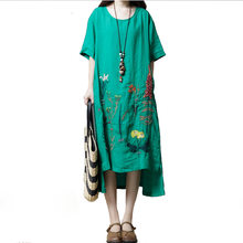 19375a88aff61 Idopy Summer Women s Summer A-Line Embroidered Linen Cotton Emboridery  Ethnic Chinese Style Dress Hi Low Long Tunic For Female
