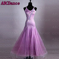 Ballroom Dance Dresses Women Performance Spandex Organza Crystals/Rhinestones Sleeveless Dress