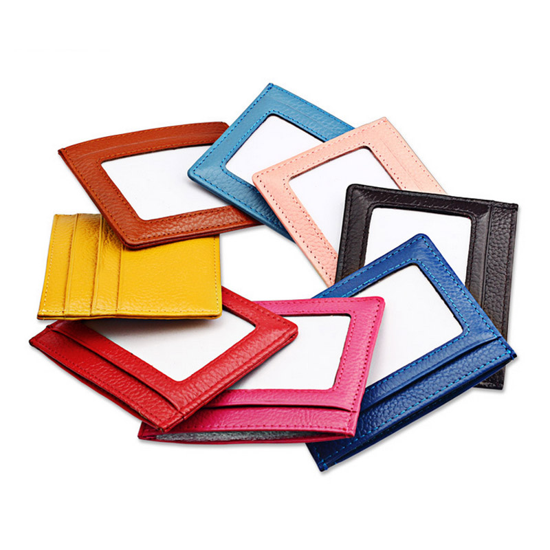 PHENAS 8 Colour Ultra thin Card Holder Mini wallets Genuine Leather purse real leather Card Case